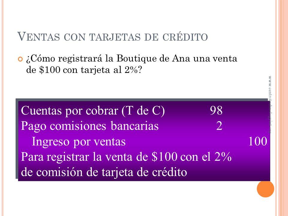 V ENTAS CON TARJETAS DE CRÉDITO Ahorra a la empresa el costo del departamento de crédito La empresa paga una comisión sobre estas ventas al banco www.