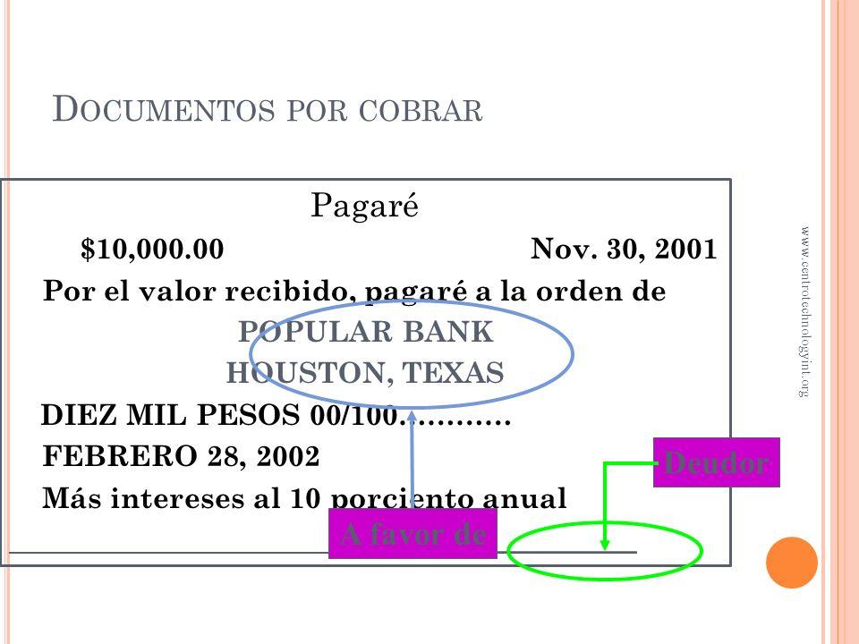 D OCUMENTOS POR COBRAR Un documento por cobrar se origina cuando se documenta una cuenta por cobrar Se acuerda el pago de determinada cantidad Esa can