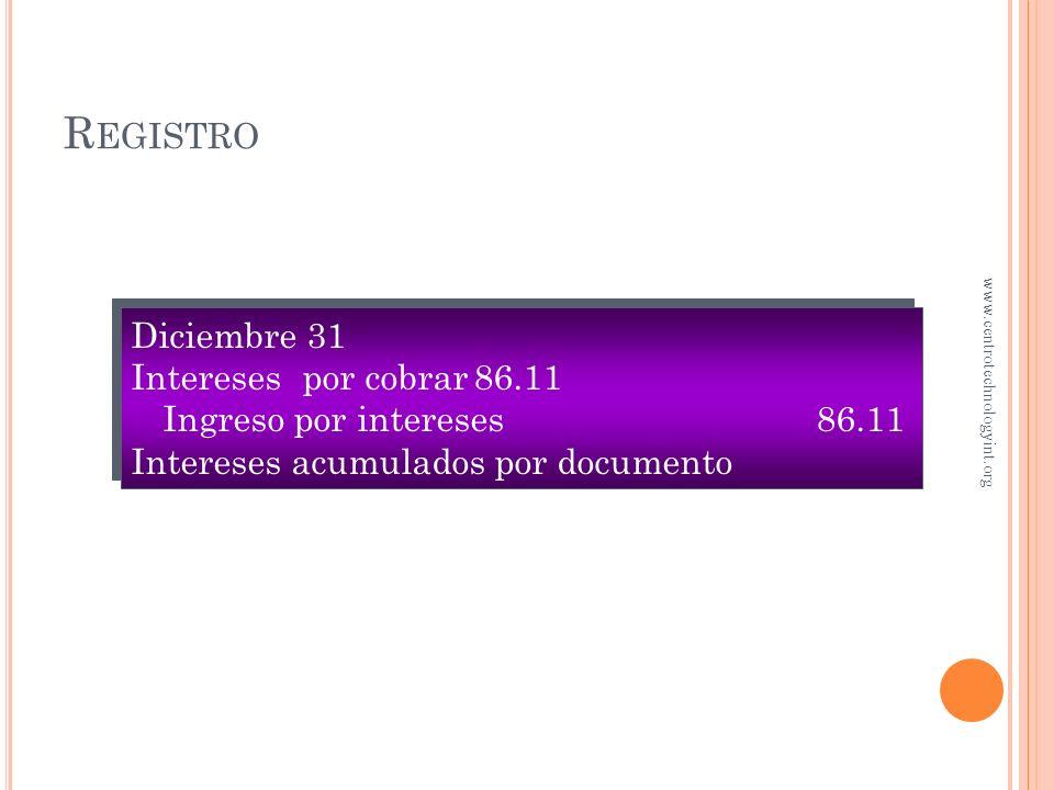 R EGISTRO Asuma que el periodo contable termina el 31 de diciembre 31 ¿Qué cantidad de intereses se ganó a la fecha? $10,000 × 10% × (31 ÷ 360) = $86.