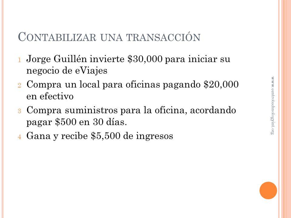 C ONTABILIZAR UNA TRANSACCIÓN ¿Qué es una transacción? Es cualquier evento que afecte la posición financiera de la entidad y pueda ser registrado adec