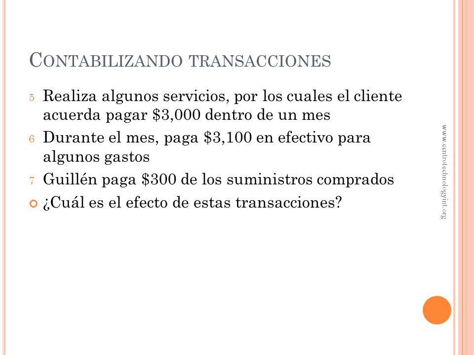 C ONTABILIZAR UNA TRANSACCIÓN 1 Jorge Guillén invierte $30,000 para iniciar su negocio de eViajes 2 Compra un local para oficinas pagando $20,000 en e