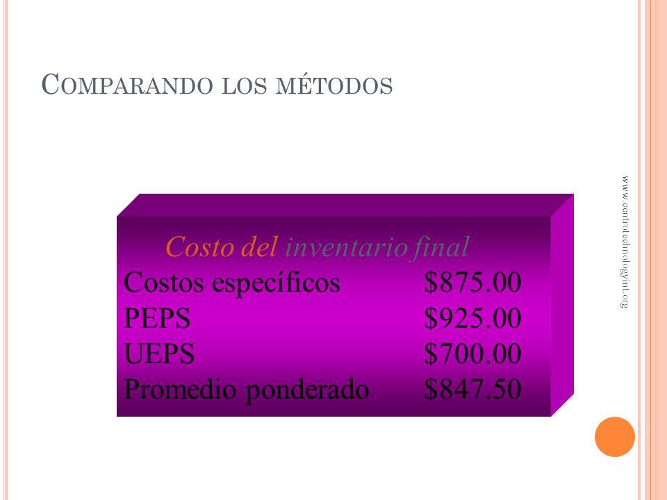 Inventario final Oct$300 May 400 Total$700 Ú LTIMAS ENTRADAS, PRIMERAS SALIDAS 25 U a $31 (oct.) 45 U a $30 (may.) 10 U a $30 20 U a $20 (ene.) www.ce