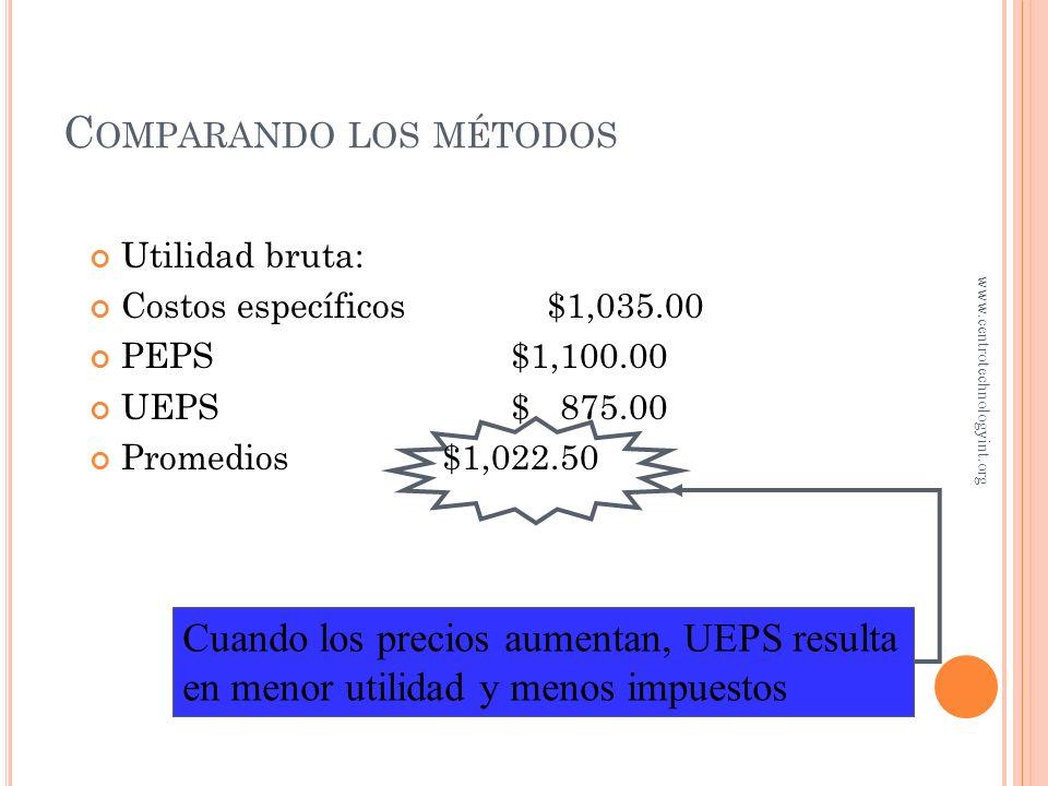 Costo de ventas Costos específicos $1,965.00 PEPS$1,900.00 UEPS$2,125.00 Promedio ponderado$1,977.50 C OMPARANDO LOS MÉTODOS www.centrotechnologyint.o