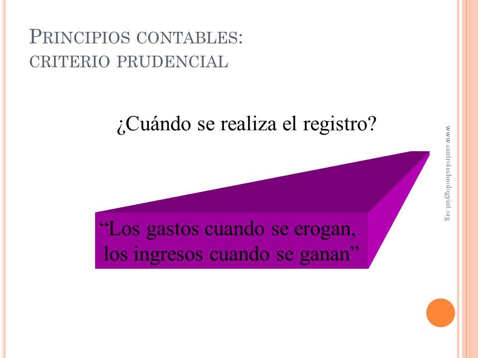 P RINCIPIOS CONTABLES : IMPORTANCIA RELATIVA Dependiendo el monto de una transacción, se deberá reportar el monto como un activo o un gasto Dependiend
