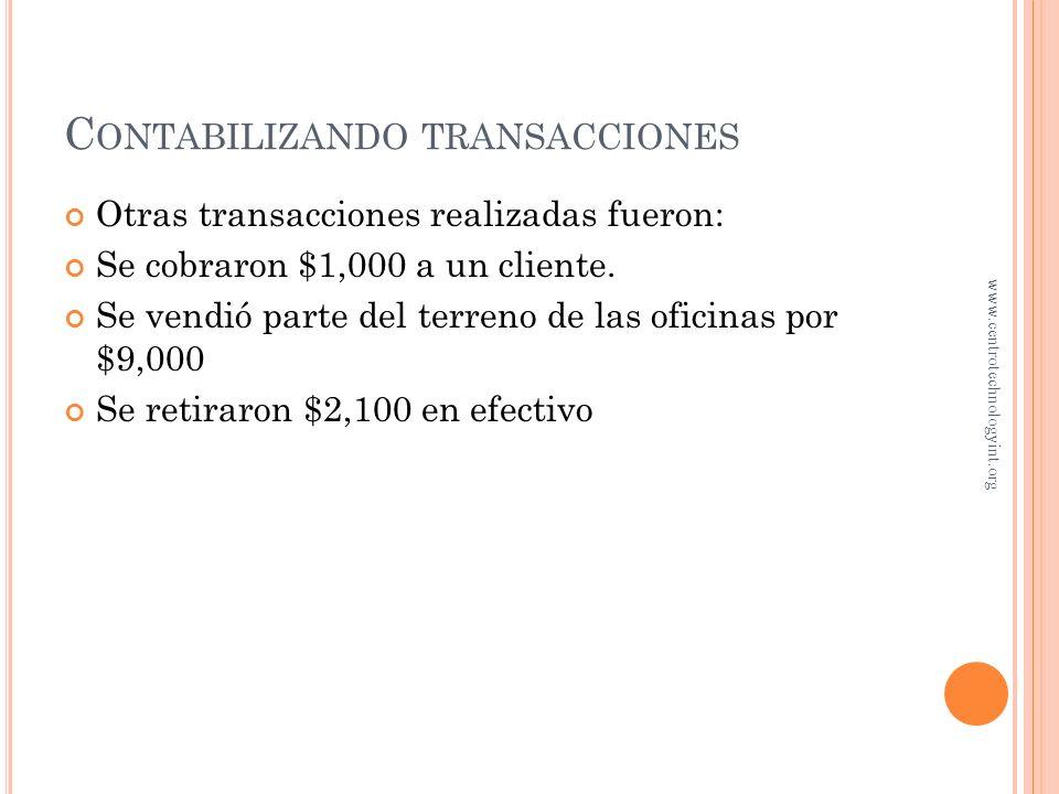 C ONTABILIZANDO TRANSACCIONES Observe que la ecuación contable siempre está balanceada Cada transacción afecta cuando menos a dos cuentas Algunas tran