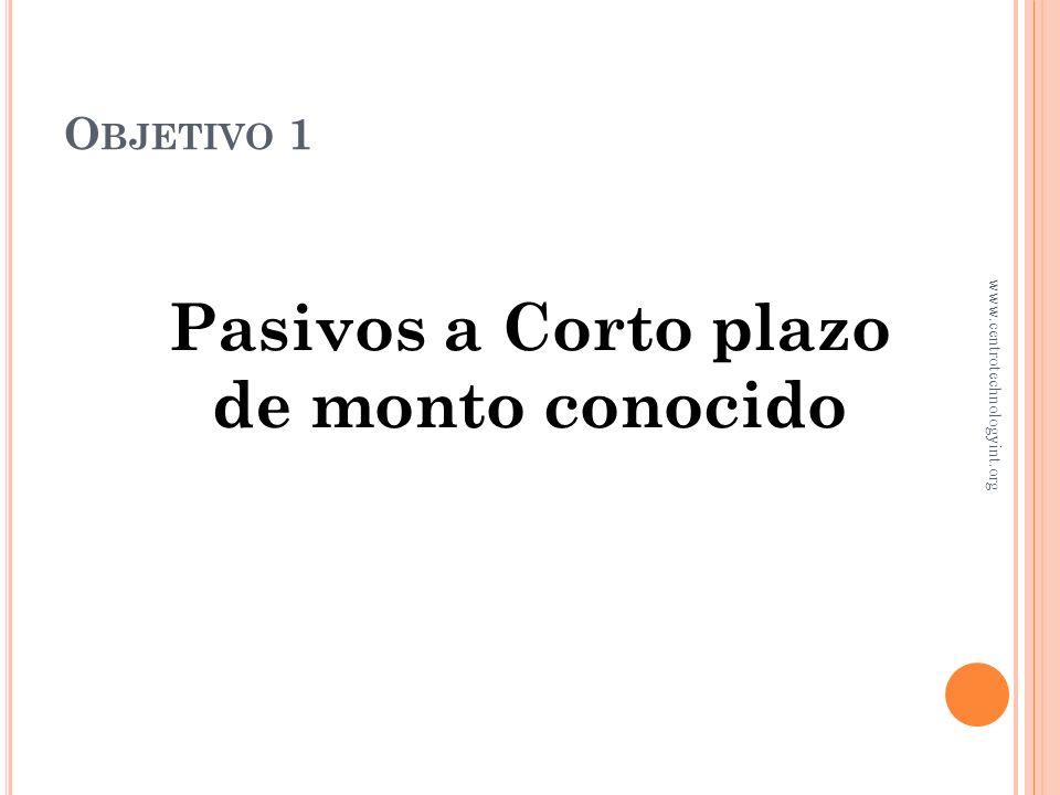 P ASIVOS A CORTO PLAZO Y NÓMINAS Capítulo 10 www.centrotechnologyint.org