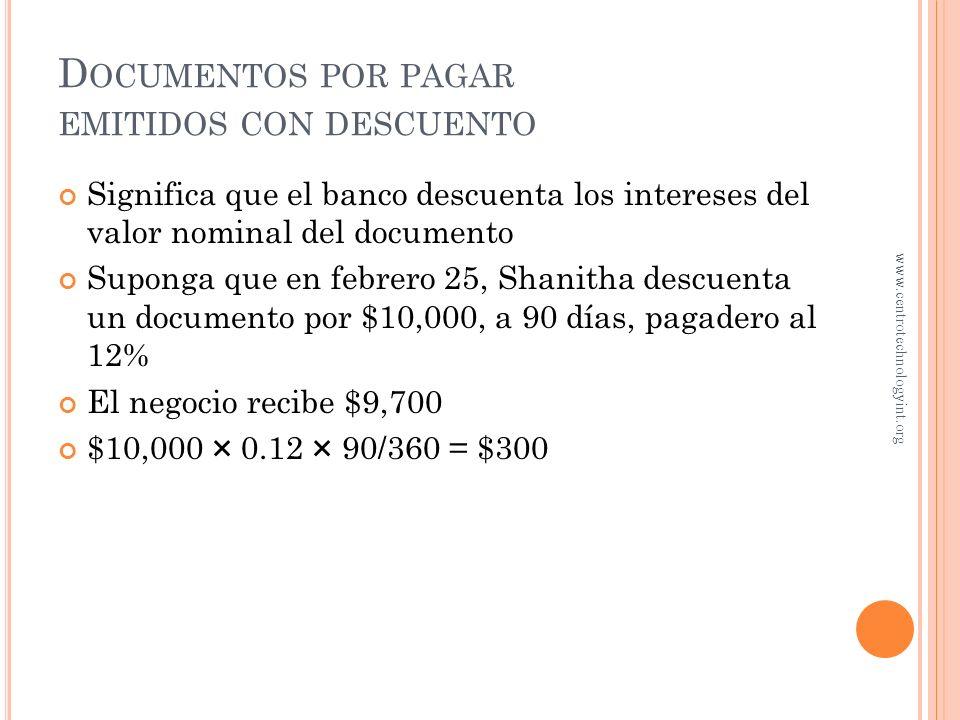 D OCUMENTOS POR PAGARA CORTO PLAZO... E JEMPLO Julio 29 Documentos x pagar10,000.00 Intereses por pagar 86.11 Gasto por intereses163.89 Efectivo10,250