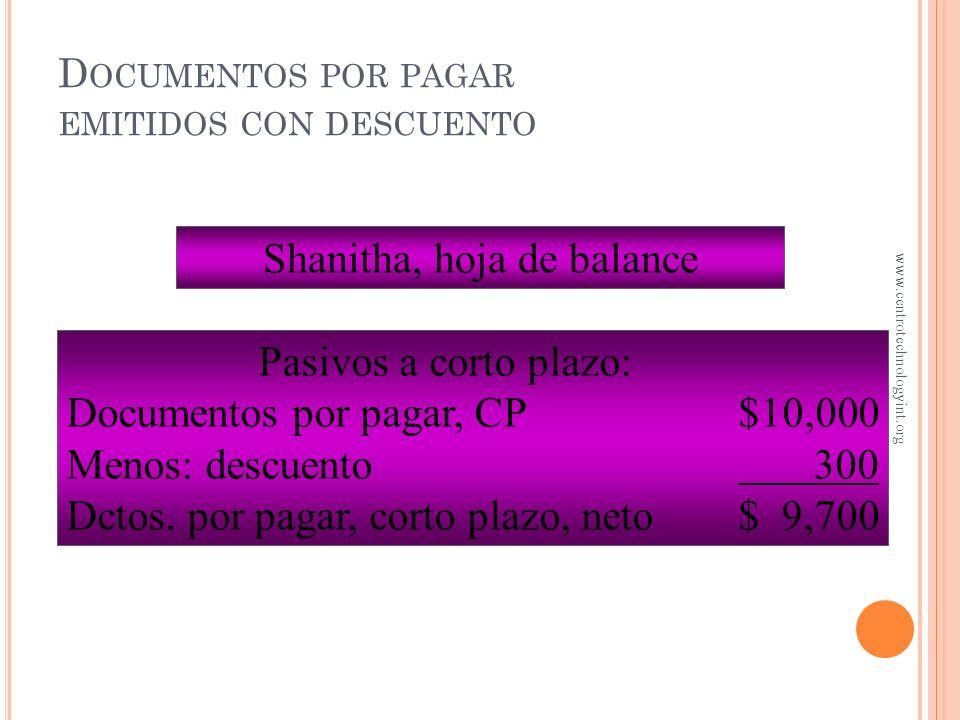 D OCUMENTOS POR PAGAR EMITIDOS CON DESCUENTO Febrero 25 Efectivo 9,700 Gastos financieros 300 Documentos por pagar10,000 Descuento de $10,000, 90 días