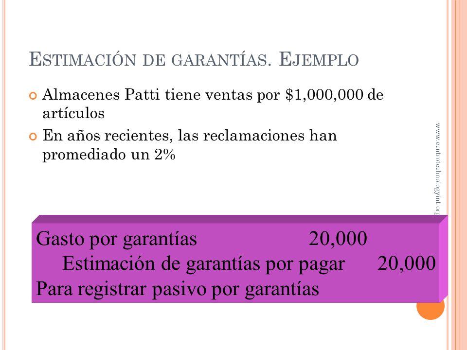 E STIMACIÓN DE GARANTÍAS Para un correcto enfrentamiento de ingresos vs. gastos, el gasto por garantías debe ser estimado en el periodo cuando se vend