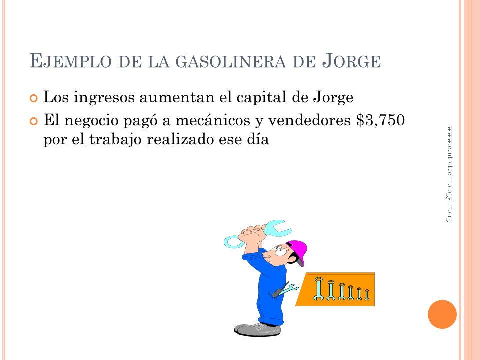 E JEMPLO DE LA GASOLINERA DE J ORGE Asuma que el negocio vendió $5,000 de gasolina en una fecha dada y prestó servicios de reparaciones por $3,000 ¿Cu