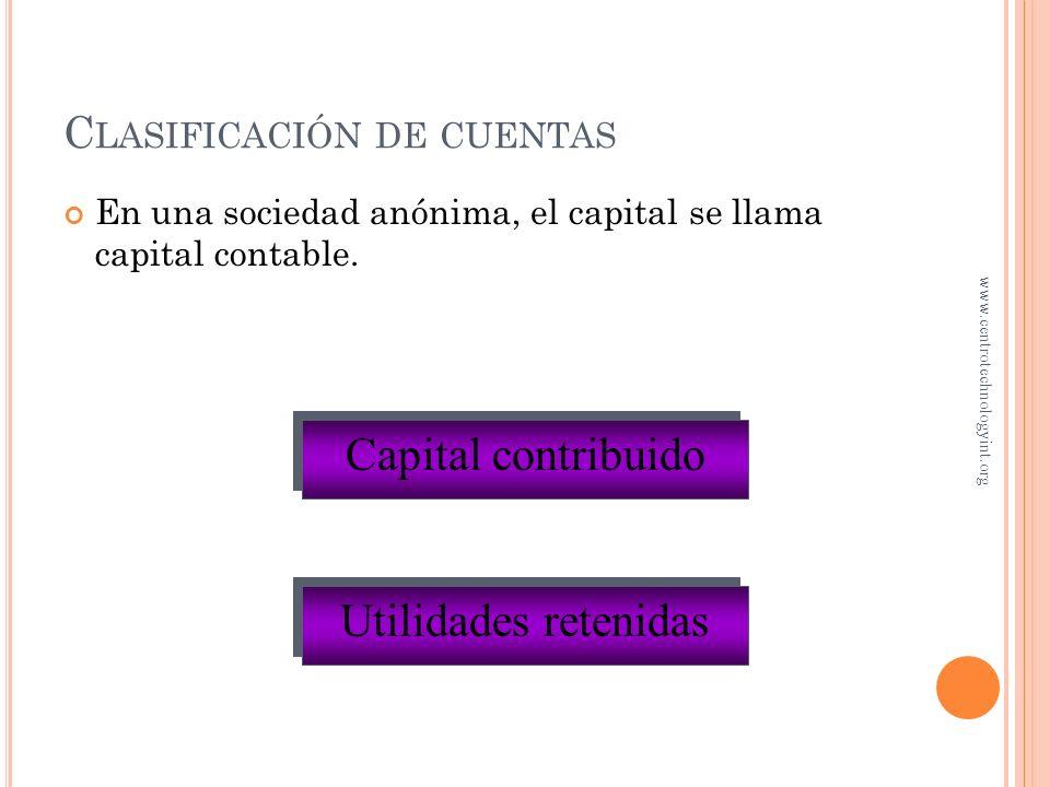 E JEMPLO DE LA GASOLINERA DE J ORGE Los gastos disminuyen el capital de Jorge ¿En cuánto aumentó el capital de Jorge? $4,250 ($8,000 - $3,750) www.cen