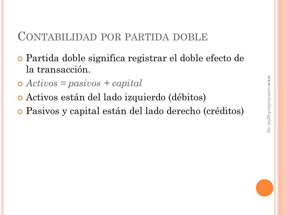 Capital contribuido Utilidades retenidas C LASIFICACIÓN DE CUENTAS En una sociedad anónima, el capital se llama capital contable. www.centrotechnology