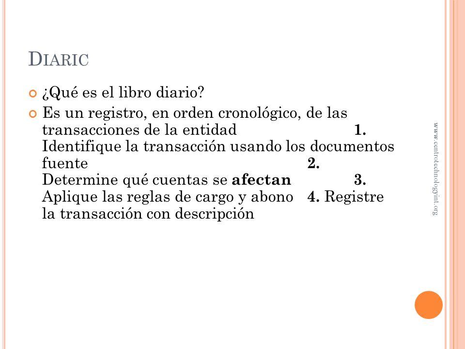 O BJETIVO 3 Registro de transacciones en el libro diario www.centrotechnologyint.org