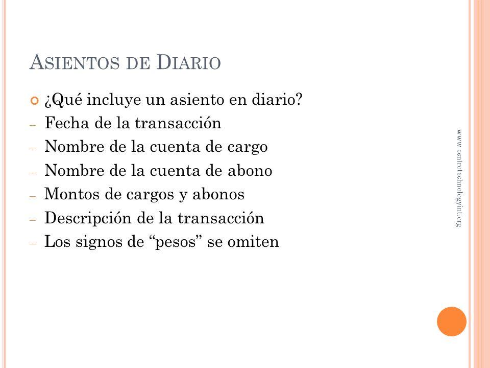 D IARIC ¿Qué es el libro diario? Es un registro, en orden cronológico, de las transacciones de la entidad 1. Identifique la transacción usando los doc
