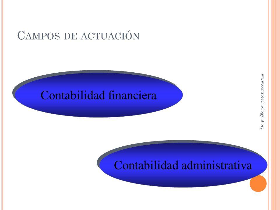 Contabilidad administrativa Contabilidad financiera C AMPOS DE ACTUACIÓN www.centrotechnologyint.org