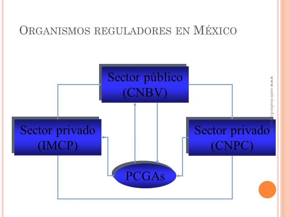 Sector público (CNBV) Sector público (CNBV) Sector privado (CNPC) Sector privado (CNPC) Sector privado (IMCP) Sector privado (IMCP) PCGAs O RGANISMOS REGULADORES EN M ÉXICO www.centrotechnologyint.org