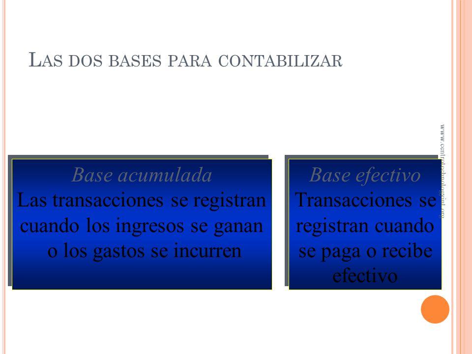 O BJETIVO 1 Diferencia entre contabilidad en base acumulada y contabilidad en base efectivo www.centrotechnologyint.org
