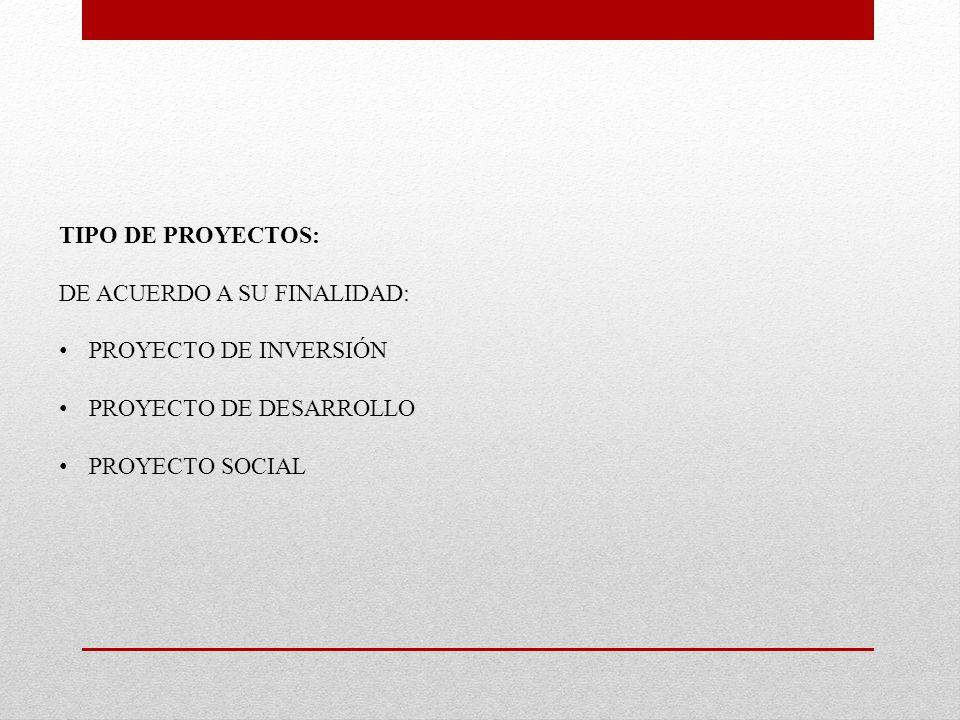 TIPO DE PROYECTOS: DE ACUERDO A SU FINALIDAD: PROYECTO DE INVERSIÓN PROYECTO DE DESARROLLO PROYECTO SOCIAL