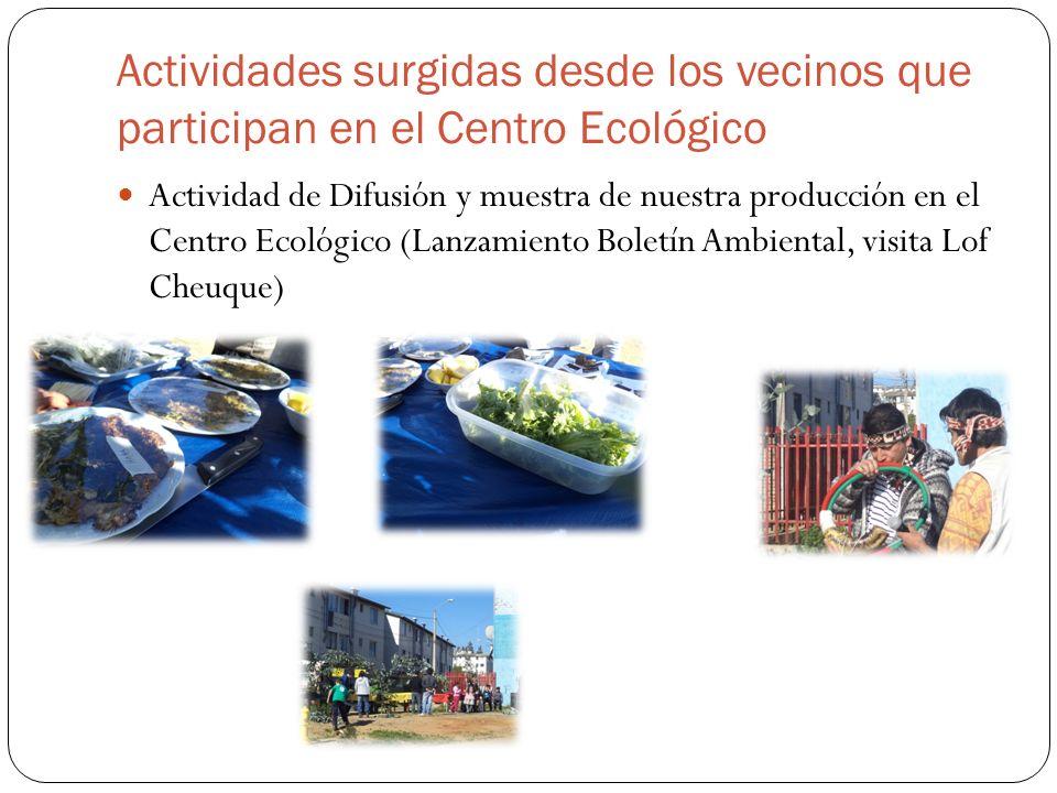 Actividades surgidas desde los vecinos que participan en el Centro Ecológico Actividad de Difusión y muestra de nuestra producción en el Centro Ecológico (Lanzamiento Boletín Ambiental, visita Lof Cheuque)