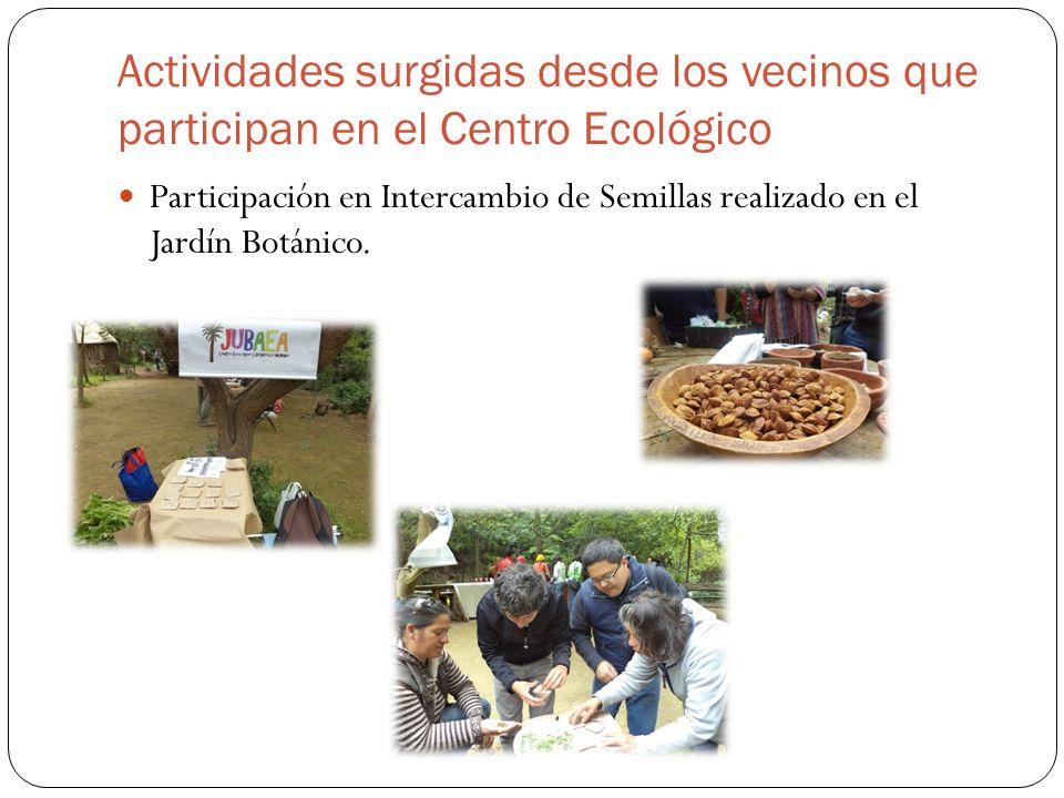 Actividades surgidas desde los vecinos que participan en el Centro Ecológico Participación en Intercambio de Semillas realizado en el Jardín Botánico.