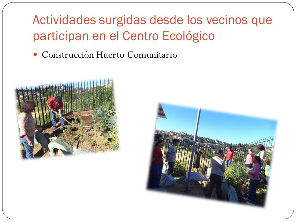 Actividades surgidas desde los vecinos que participan en el Centro Ecológico Construcción Huerto Comunitario