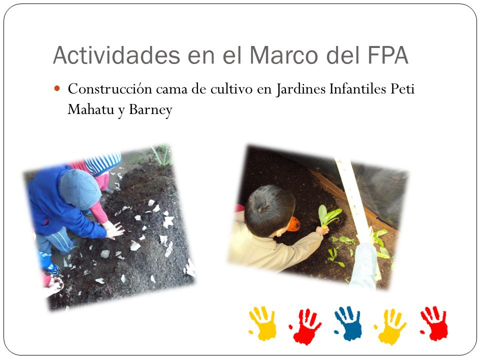 Actividades en el Marco del FPA Construcción cama de cultivo en Jardines Infantiles Peti Mahatu y Barney