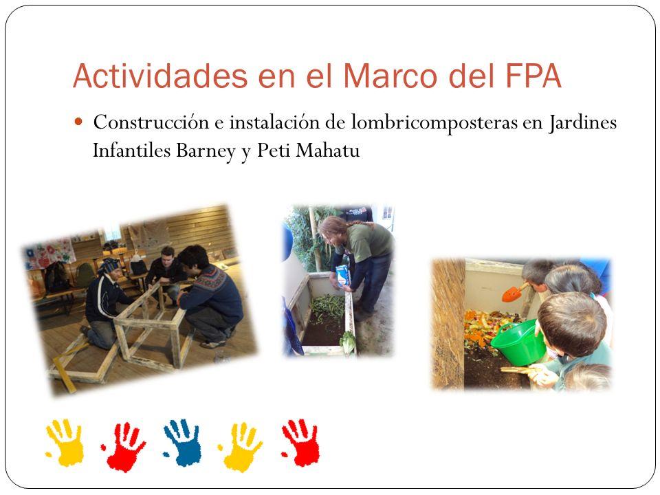 Actividades en el Marco del FPA Construcción e instalación de lombricomposteras en Jardines Infantiles Barney y Peti Mahatu
