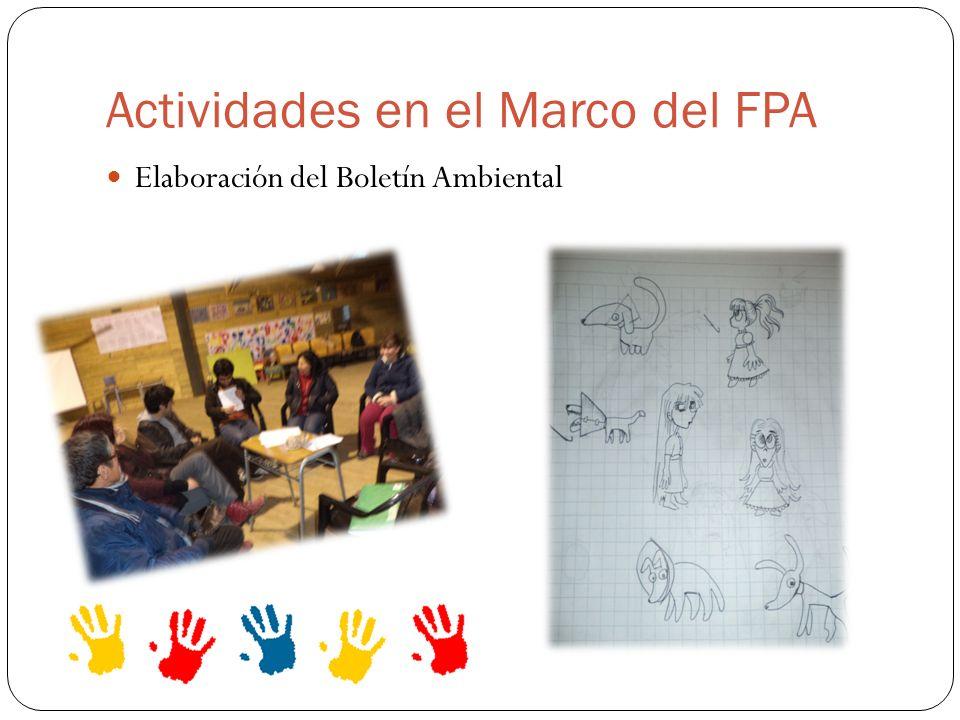Actividades en el Marco del FPA Elaboración del Boletín Ambiental