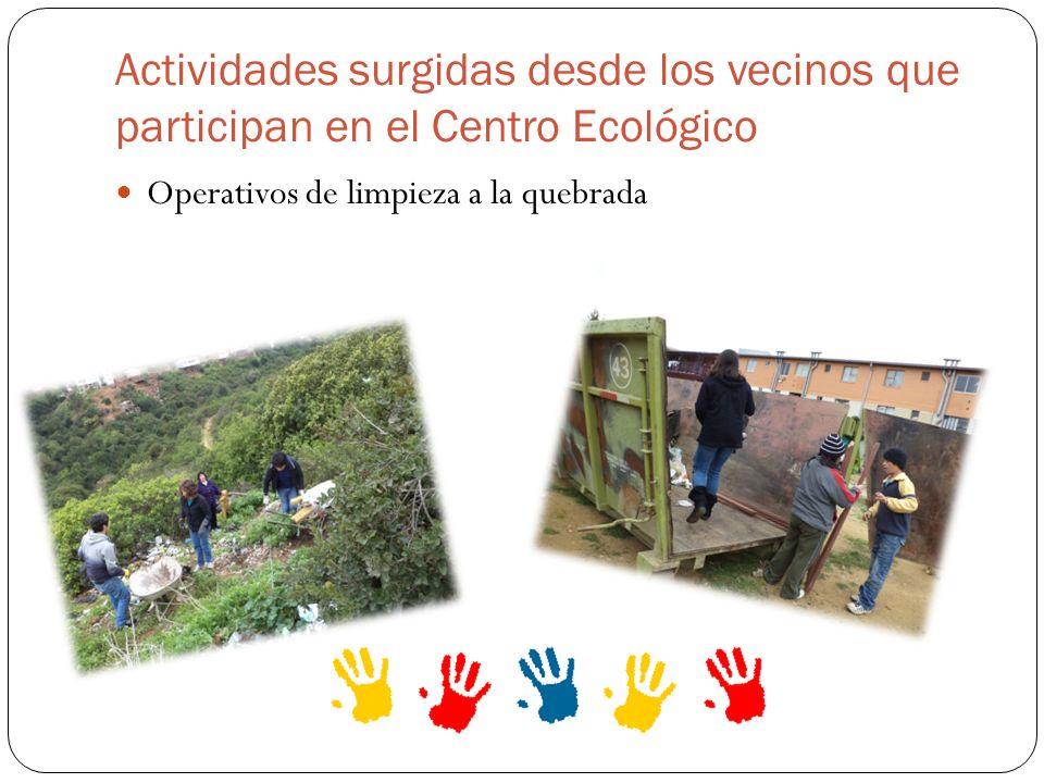 Actividades surgidas desde los vecinos que participan en el Centro Ecológico Operativos de limpieza a la quebrada