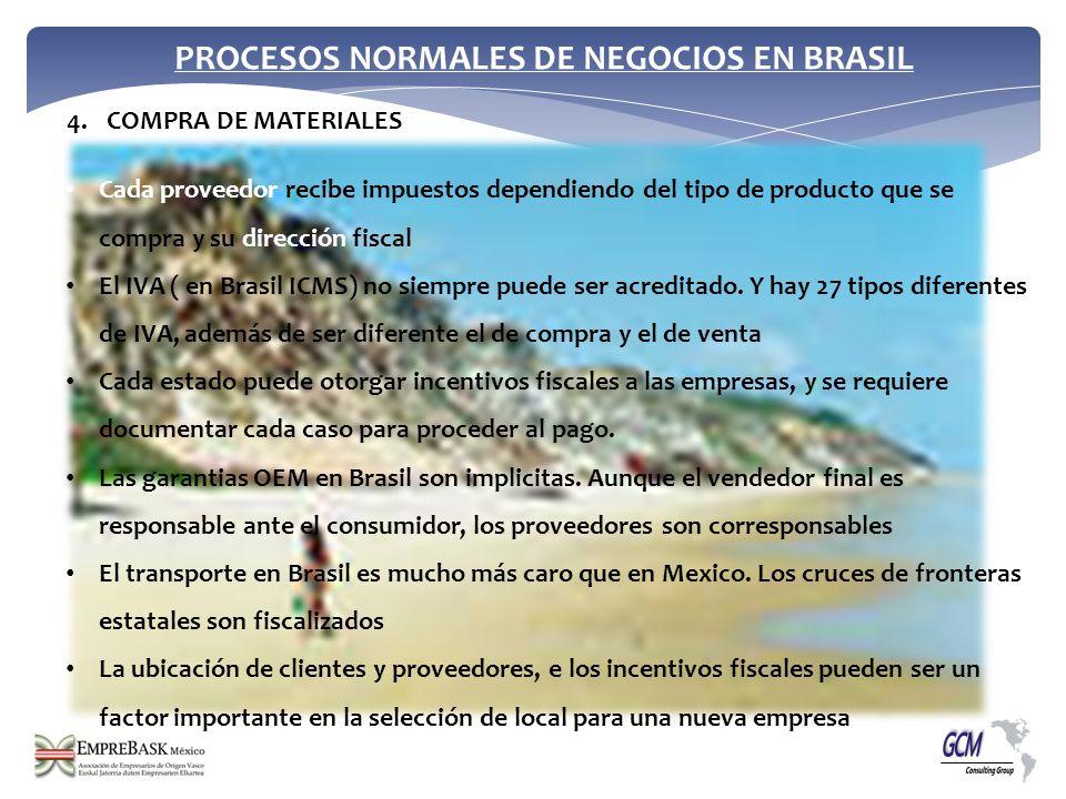 PROCESOS NORMALES DE NEGOCIOS EN BRASIL Cada proveedor recibe impuestos dependiendo del tipo de producto que se compra y su dirección fiscal El IVA (