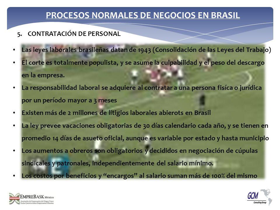 PROCESOS NORMALES DE NEGOCIOS EN BRASIL Las leyes laborales brasileñas datan de 1943 (Consolidación de las Leyes del Trabajo) El corte es totalmente p