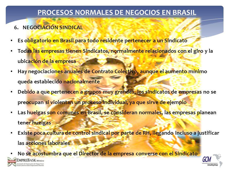PROCESOS NORMALES DE NEGOCIOS EN BRASIL Es obligatorio en Brasil para todo residente pertenecer a un Sindicato Todas las empresas tienen Sindicatos, n