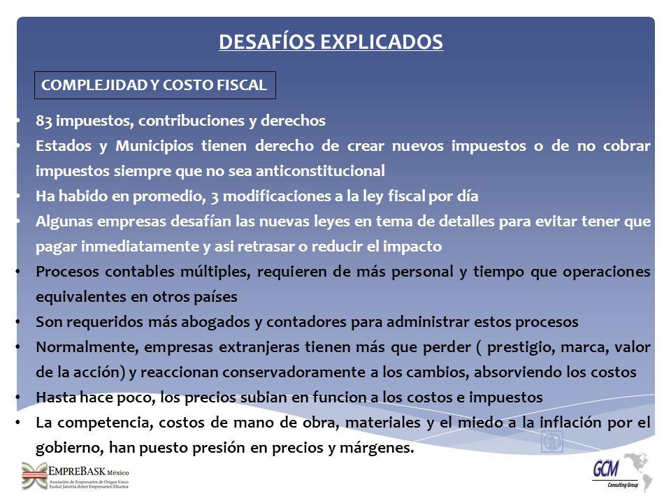DESAFÍOS EXPLICADOS COMPLEJIDAD Y COSTO FISCAL 83 impuestos, contribuciones y derechos Estados y Municipios tienen derecho de crear nuevos impuestos o