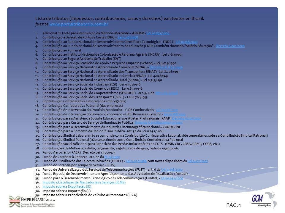 Lista de tributos (impuestos, contribuciones, tasas y derechos) existentes en Brasil: fuente www.portaltributario.com.brwww.portaltributario.com.br 1.