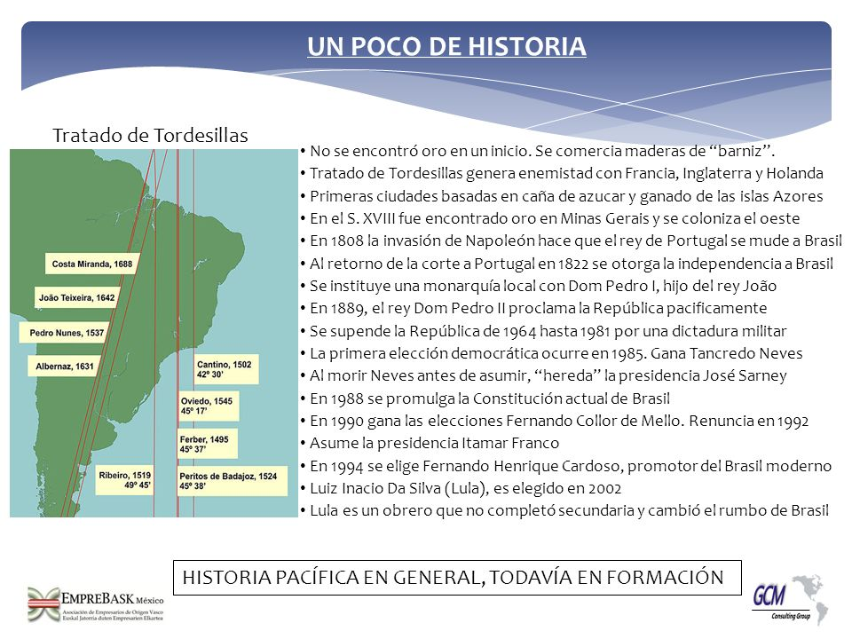 No se encontró oro en un inicio. Se comercia maderas de barniz. Tratado de Tordesillas genera enemistad con Francia, Inglaterra y Holanda Primeras ciu