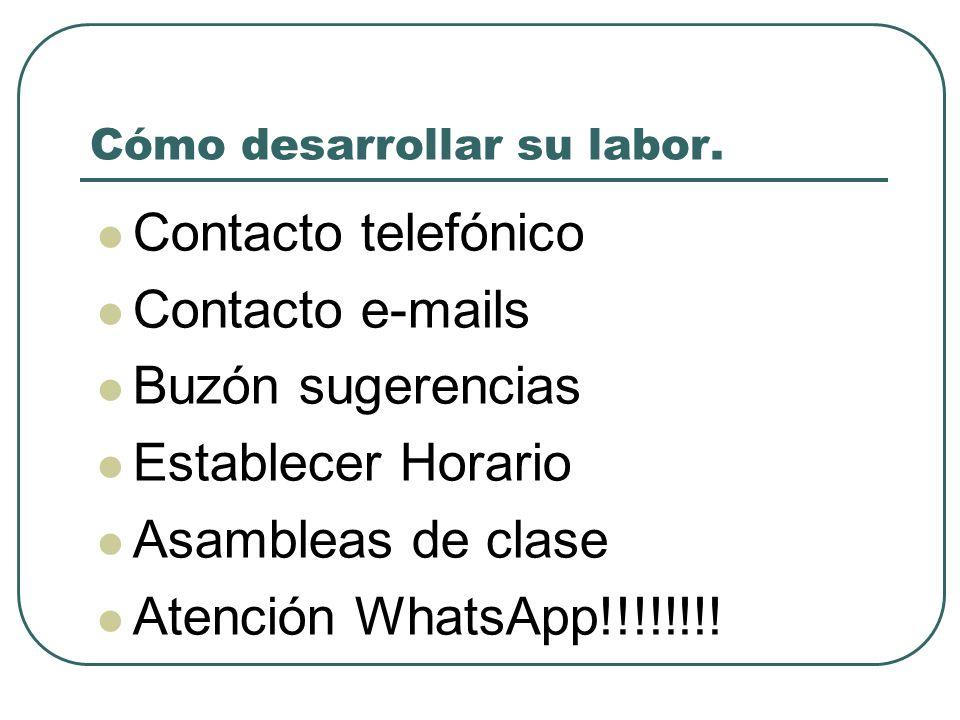 Cómo desarrollar su labor. Contacto telefónico Contacto e-mails Buzón sugerencias Establecer Horario Asambleas de clase Atención WhatsApp!!!!!!!!