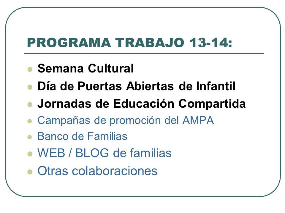 PROGRAMA TRABAJO 13-14: Semana Cultural Día de Puertas Abiertas de Infantil Jornadas de Educación Compartida Campañas de promoción del AMPA Banco de F