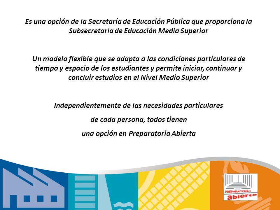 Es una opción de la Secretaría de Educación Pública que proporciona la Subsecretaría de Educación Media Superior Un modelo flexible que se adapta a la