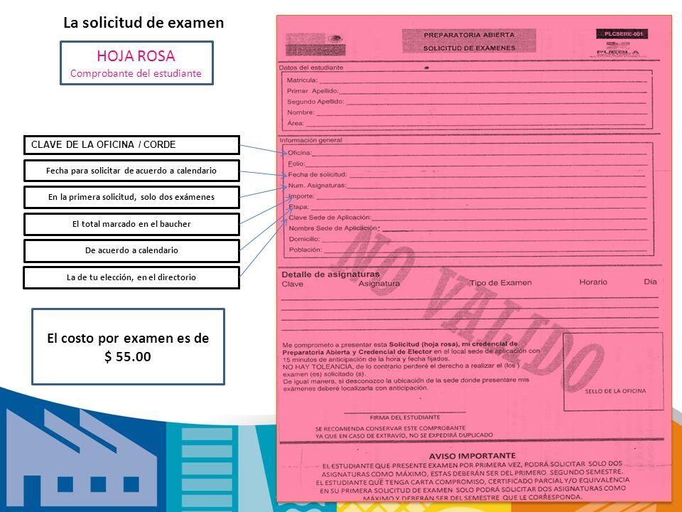 La solicitud de examen HOJA ROSA Comprobante del estudiante CLAVE DE LA OFICINA / CORDE Fecha para solicitar de acuerdo a calendario En la primera sol