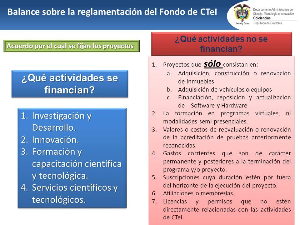 1.Investigación y Desarrollo. 2.Innovación. 3.Formación y capacitación científica y tecnológica. 4.Servicios científicos y tecnológicos. 1.Investigaci