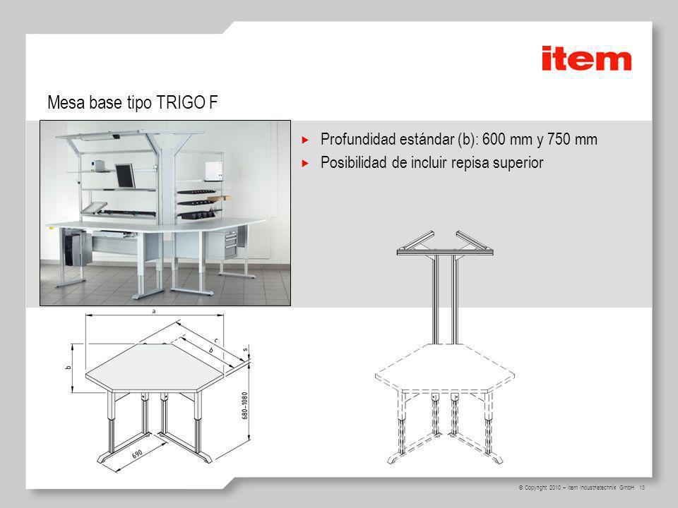 13 © Copyright 2010 – item Industrietechnik GmbH Mesa base tipo TRIGO F Profundidad estándar (b): 600 mm y 750 mm Posibilidad de incluir repisa superi