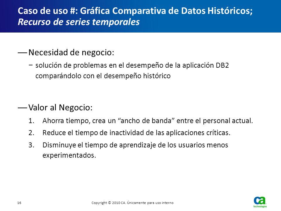 Necesidad de negocio: solución de problemas en el desempeño de la aplicación DB2 comparándolo con el desempeño histórico Valor al Negocio: 1.Ahorra ti