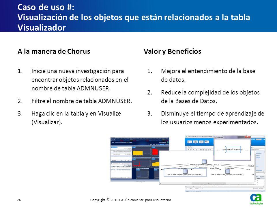 Caso de uso # : Visualización de los objetos que están relacionados a la tabla Visualizador 1.Inicie una nueva investigación para encontrar objetos re