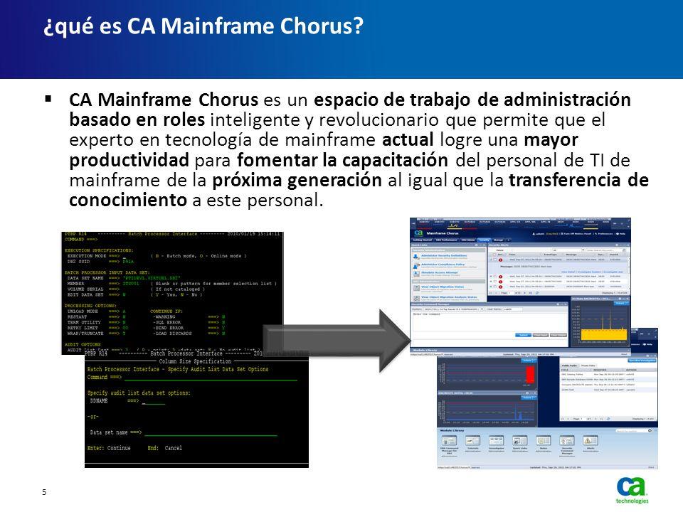 CA Mainframe Chorus es un espacio de trabajo de administración basado en roles inteligente y revolucionario que permite que el experto en tecnología d