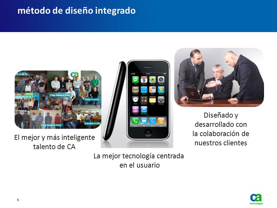 El mejor y más inteligente talento de CA La mejor tecnología centrada en el usuario Diseñado y desarrollado con la colaboración de nuestros clientes m