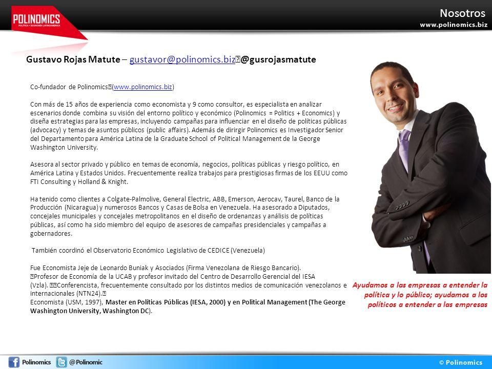 Nosotros Gustavo Rojas Matute – gustavor@polinomics.biz @gusrojasmatutegustavor@polinomics.biz Co-fundador de Polinomics (www.polinomics.biz)www.polin