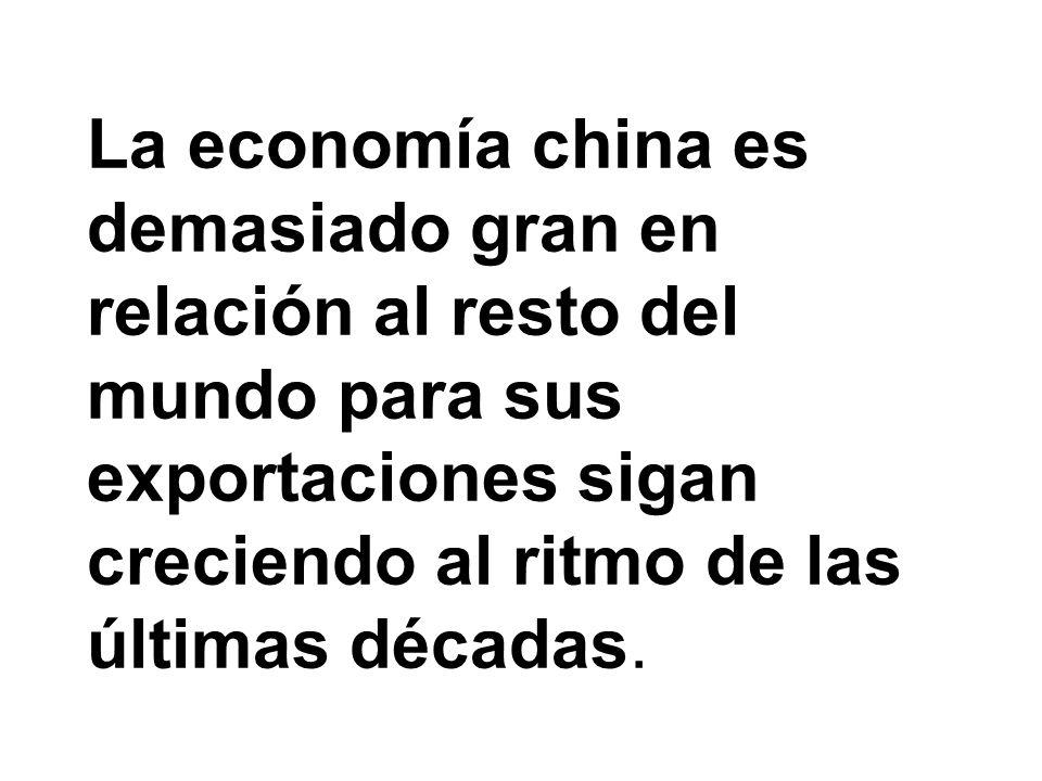 La economía china es demasiado gran en relación al resto del mundo para sus exportaciones sigan creciendo al ritmo de las últimas décadas.