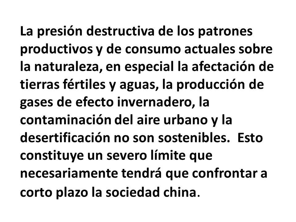 La presión destructiva de los patrones productivos y de consumo actuales sobre la naturaleza, en especial la afectación de tierras fértiles y aguas, la producción de gases de efecto invernadero, la contaminación del aire urbano y la desertificación no son sostenibles.