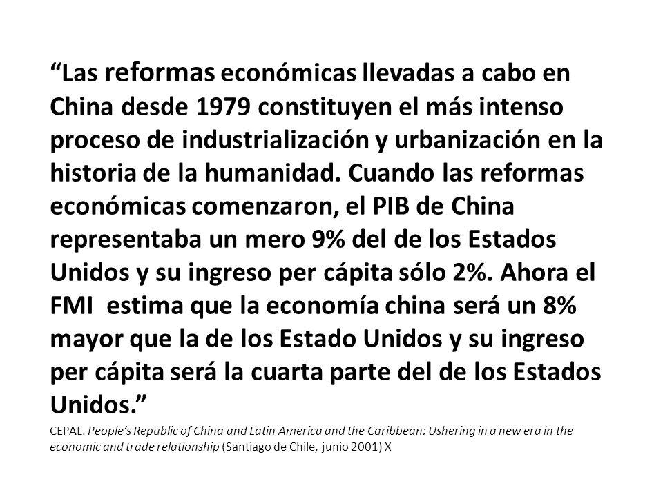 Las reformas económicas llevadas a cabo en China desde 1979 constituyen el más intenso proceso de industrialización y urbanización en la historia de la humanidad.