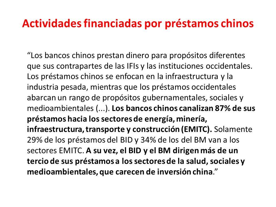 Actividades financiadas por préstamos chinos Los bancos chinos prestan dinero para propósitos diferentes que sus contrapartes de las IFIs y las instituciones occidentales.